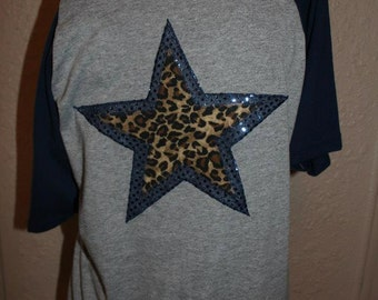 Dallas Cowboys Cheetah Star Off-the-Shoulder Shirt