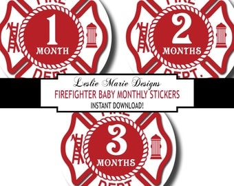 Firefighter Baby Month Stickers, Firefighter Baby Stickers, Fireman