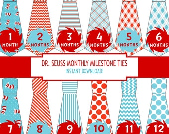 Dr Seuss Baby Month Stickers, Dr. Seuss Baby Month Stickers