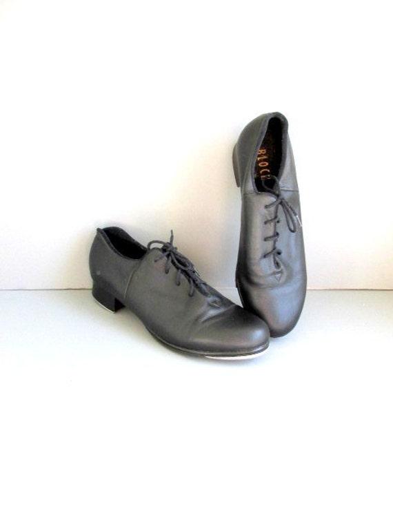 sale vintage tap black leather oxford tap shoes by capecloset