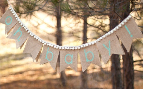 oh baby burlap banner burlap baby banner baby shower photo