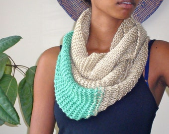 Hand Knit / Tan & Teal Infinity Scarf