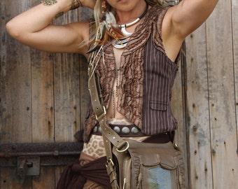 Leather holster, leather utility belt, festival belt, steam punk belt, tribal jungle, holster, messenger bag