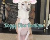 Medium Winter White Reindeer Pet Hat - Reindeer Dog Snood - for Dog or Cat
