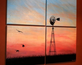 Abstract Windmill Crane Painting on Canvas