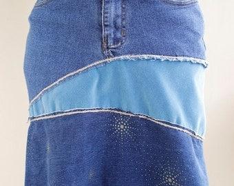 Patchwork A-line Denim Skirt