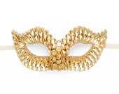 Gold Masquerade Mask With Dragon Scales Texture -  Metallic Venetian Mask Decorated With Gold Flake Beads