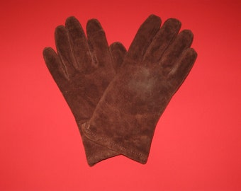 Womens Medium (M) Brown Faux Leather Gloves