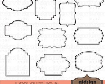 vintage label frame clipart scrapbook embellish blog graphicspersonal and commercial useinstant download