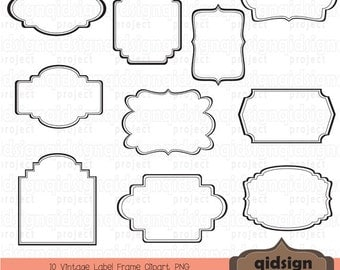 Vintage Label Frame Clipart - Scrapbook embellish - Blog Graphics    Vintage Label Outline