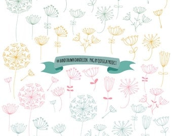 Hand drawn dandelion clipart for scrapbooking invitation pink blue green yellow dandelion commercial use