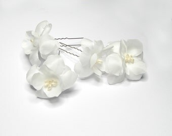 Bridal Flower Pins - Set of 2 - Wedding Hair Accessory - Off White Flower Pin - Floral Bridal Hair Clips