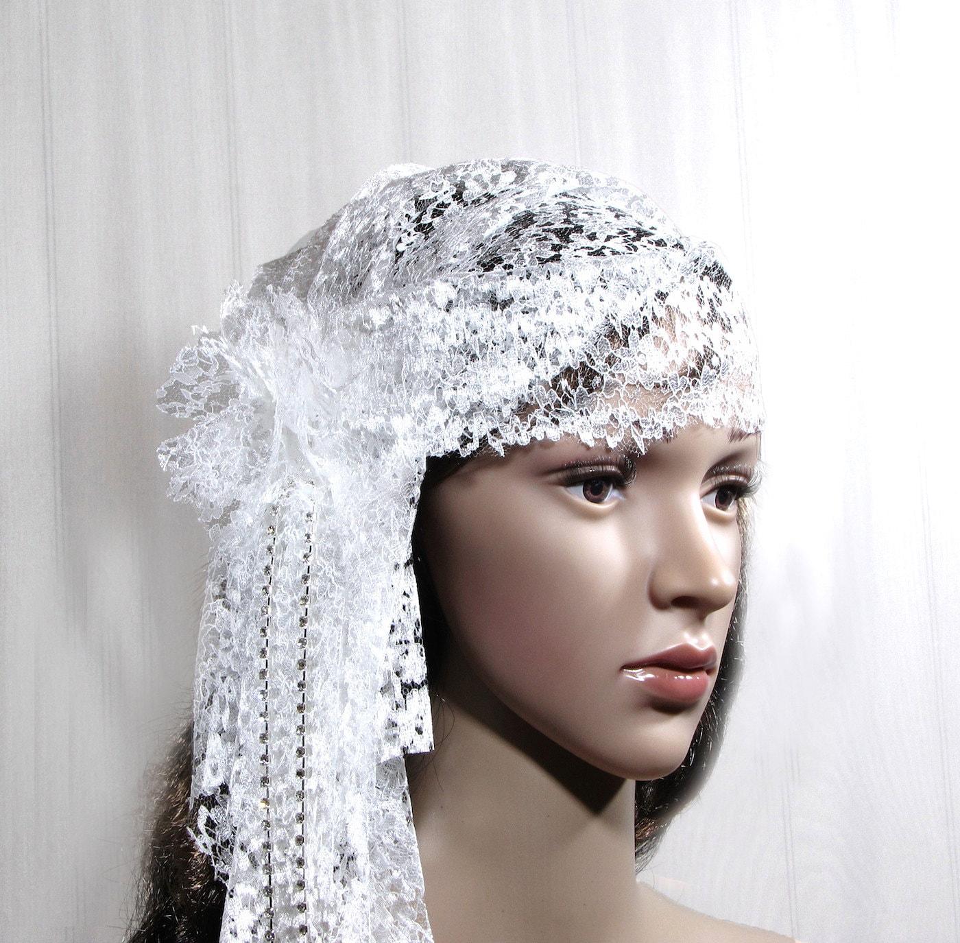 1920s Hair Accessory Bridal Lace Cap Wedding Headpiece