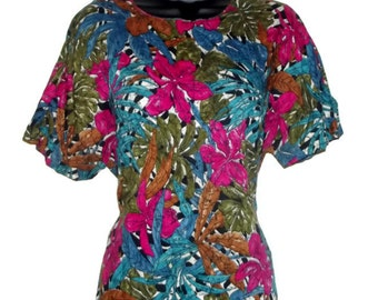 Vintage tropical blouse, pink, blue and green  floral blouse, summer blouse