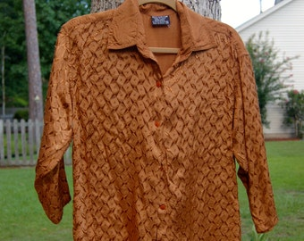 100% Rayon Bronze 3/4 Sleeve Button Up Blouse!
