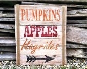 Fall Decor Fall Sign Pumkins Apples Hayrides Sign Pallet Sign Fall Pallet Sign
