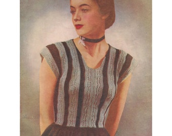 1940s Knitting Pattern for Womens Peplum Blouse with Cap Sleeves - Digital PDF