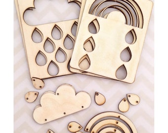 Cosmo Cricket Wood Charms Clouds
