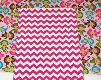 Zoologie Monkeys Spring and Pink Chevron duvet comforter cover for crib, toddler, twin, twin xl, full, or queen, customize size and colors