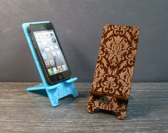 5 Sizes - Phone Stand Docking Station - iPhone 6, iPhone 6 Plus, iPhone 5, Samsung Galaxy S5, S4, Universal, Acrylic Damask Pattern 9 Colors