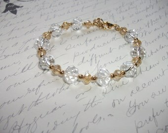 Gold and clear crystal bling bracelet