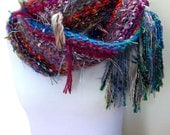 Rio Hand Knit Scarf Imported Fibers Rainbow Hues Hand Tied Yarn Wispy Nubby Texture Fun Fringe Eclectic Fashion Accessory