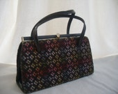 Vintage Welsh Wool Tapestry handbag. approx 1960.