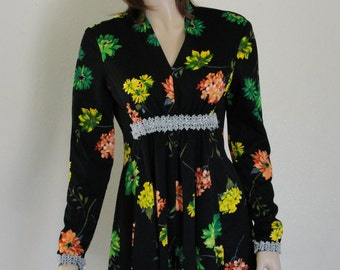 Vintage 1970s floral mini long sleeve dress  MEDIUM  70s midi knee length 60s 1960s back metal zipper