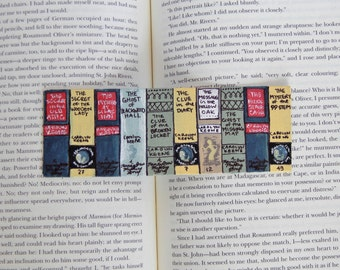 Nancy Drew Books Hand-Painted Bookmark // A Bookshelf With Books Art // Gift for Readers