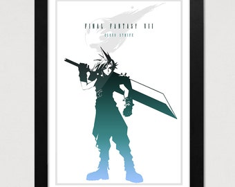 Final Fantasy VII Poster, Cloud Strife Print, FF7 Video Game Poster