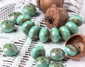 Czech Rondelle Beads, Opaque Turqouise Picasso, 11x8 mm, Donut Beads, 10 pcs - 3576