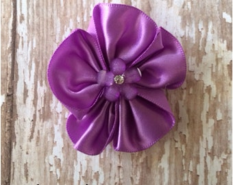 SALE Light Purple Satin Flower Hair Clip, Purple Flower Hair Barrette, Lilac Alligator Clip, Flower Hair Bow, Headband Clip, Flower Girl