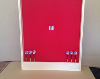 Red & Natural Pine Trim Dart Board Backboard/Surround Dartboard Cabinet w/Dart Display - For Game Room, Man Cave or Gift Idea