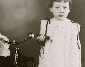 Vintage 1910's Little Birthday Girl With Her New Bike & Bonnet Real Photo Postcard - Free Shipping