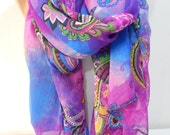 Silky Chiffon Paisley Scarf Summer Beach Cover Up Wrap Purple Cobalt Blue Scarf Shawl Pareo Sarong Mothers Day Gift Women Fashion Accessory