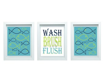 Kids Bathroom Rules Girl Or Boy Bathroom Decor Fish Bathroom Decor Fish Wall Art Fish Decor