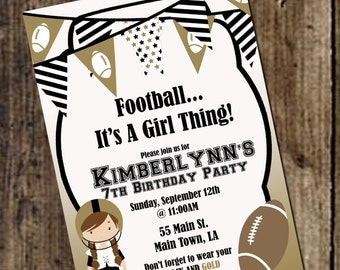 Girls Football Birthday Invitation - NFL, NCAA, Can match any team colors - New Orleans Saints, LSU Tigers Football Girls Birthday Invite
