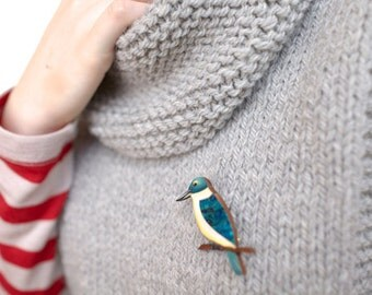 Kotare (NZ Kingfisher) Brooch - Handmade in New Zealand