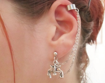 Halloween Bat ear cuff with chain