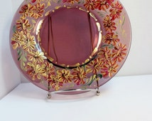 A Purple Glass Plate Hand Painted Original Design My Garden Gold Purple Daisies  #P08035