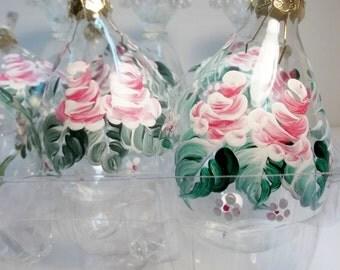 "3 1/4"" Clear Glass, Tear Drop Ornament, Christmas Ornament, Hand Painted, Scandinavian Design, Rosemaling, Folk Art, Tree Ornament."