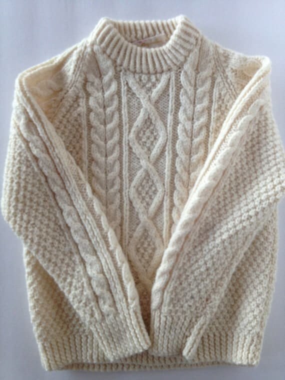 Knitting Patterns Cowl Scarf : Vintage Irish Fisherman Sweater for Kids in Oatmeal Cream