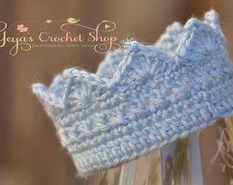 LIght Blue Baby Crochet Crown,  Baby Accessories, Newborn Size, Infant Boy crown , prince toddlers