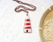 Lighthouse jewelry, lighthouse necklace  with polymer clay and copper wire, polymer clay pendant, red lighthouse, sea jewelry
