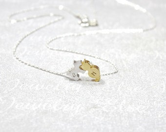 Puppy Dog With Cat Kitty Necklace -Initial Animal necklace,Persoanlized Dog Cat,Two Pet Initial Jewelry. Puppy Necklace, Animal Lover Gift.