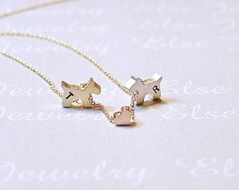 Two Dogs  2  Pet Necklace,Personalized Dog Jewelry,Puppy Necklace ,Pet Owner,Two Pet Initial Jewelry. Gold Silver Dog,, Animal Lover Gift.