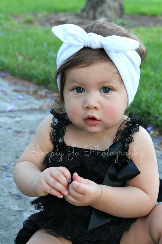 NEW- white knot tie cotton headband for baby girl and toddler girl, head wrap, photo prop, birthday, first birthday, summer, vintage