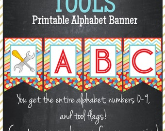 Tools Printable Alphabet Banner - Instant Download