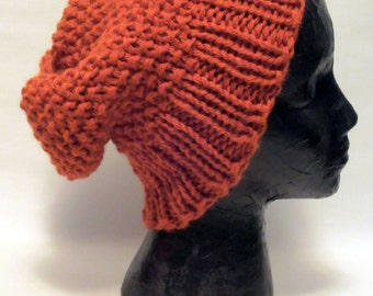 Slouchy Burnt Orange Hand Knit Winter Hat. Free Shipping in USA