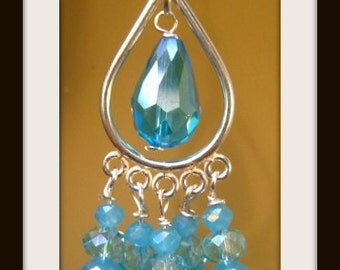 999 Fine Silver Ear wire, 999 Fine Silver Earring Component,  Swarovski Turquoise, Light Blue Crystals